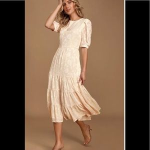BB Dakota Crushing On You Cream Midi Dress Sz 4
